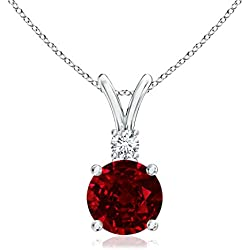July Birthstone - V-Bail Round Natural Ruby Solitaire Pendant Necklace for Women with Diamond