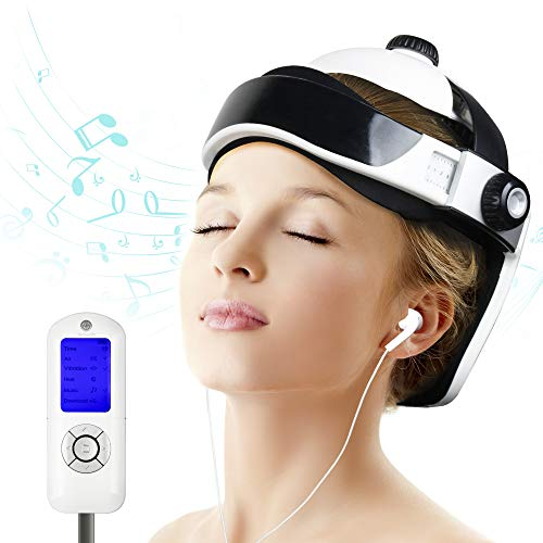 REAQER Electric Head Massager Rechargeable Intelligent Air Pressure Vibration Massage Scalp with Downloadable Soothing Music for Stress Relief and Better Sleep