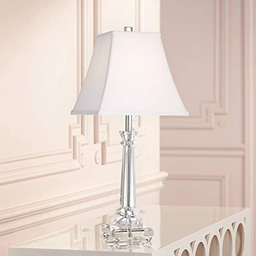(Traditional Table Lamp Crystal Glass Column White Square Bell Shade for Living Room Family Bedroom Bedside - Vienna Full Spectrum)