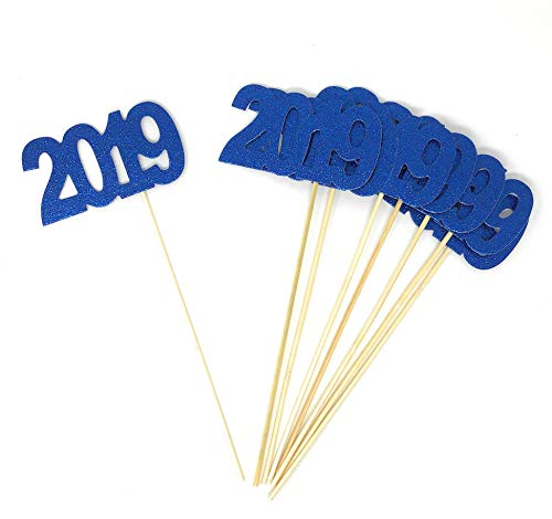 8 pack of Double Sided Blue Glitter 2019 Centerpiece Sticks in Various Colors for DIY Graduation and New Years Decor (Blue) ()