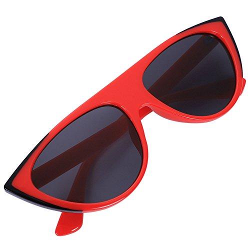 Femme Noir De Lunettes Rouge Des S8009 Femmes Pour amp; Jvsism Vintage Soleil qCfZv0
