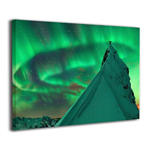 Little Monster Northern Lights in Iceland Stretched Painting On Canvas Wall Decor Abstract Paintings Art for Child Bedroom