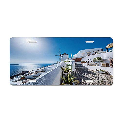 Summer Ancient Oia Village in Santorini Personalized Aluminum License Plate Tag for Women/Men, Metal Sign Decor for US Vehicles 12