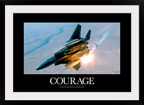- greatBIGcanvas Military Poster: An F-15E Strike Eagle Pops Flares During A Combat Sortie by Kate Lillyson Photographic Print with black Frame, 36