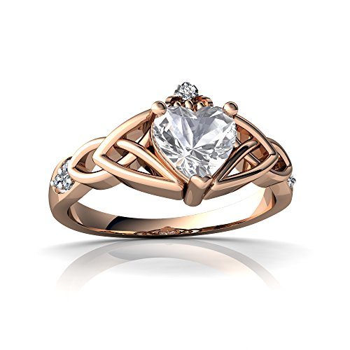 14kt Rose Gold White Topaz and Diamond 6mm Heart Claddagh Trinity Knot Ring - Size 9 14kt Diamond Trinity Knot Ring