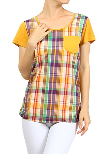 Plus-Size-Mustard-One-Pocket-Plaid-Top