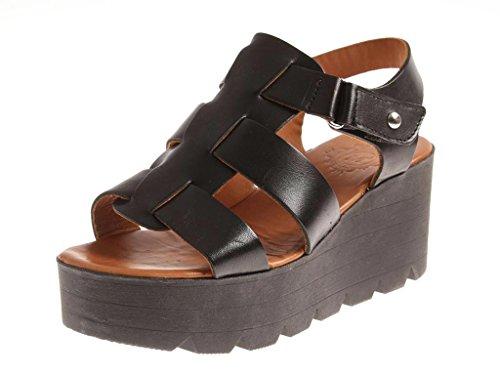 verano tacón von plataforma colores Kathamag M Zapatos cuero Dos mujer de de Negro de Sandalias 1522 con para alto qf7wwI5