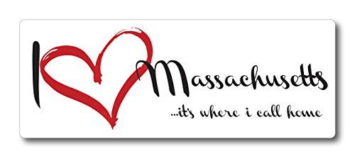 I Love (heart) Massachusetts, It's Where I Call Home Car Magnet US State Flag Refrigerator Locker SUV Heavy Duty Waterproof