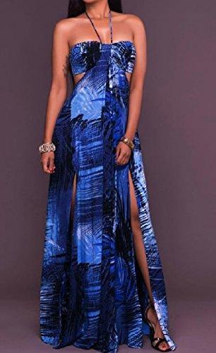 Floreale Beachwear Senza Sexy Cinghie donne Stampa Tagliato Maniche Abiti Divise Indietro Blu Coolred 6gq0w