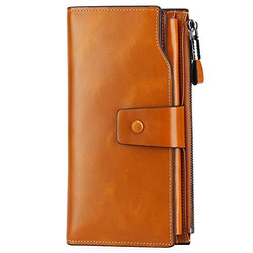 S-ZONE Women's RFID Blocking Large Capacity Genuine Leather Clutch Wallet Card Holder Organizer (Camel)