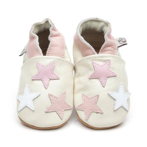 Chaussons Bébé en cuir doux Petite Étoiles Rose 6/12 mois Olea London