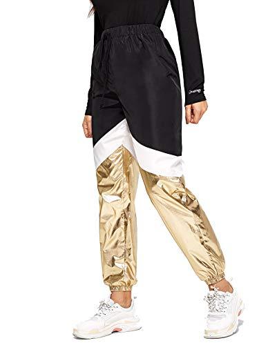 Romwe Women's Color Block Sweatpants Loose Metallic Workout Jogger Tapered Pants Light Gold X-Small