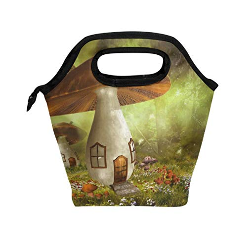 Comfrashion Mushroom House Magical Lunch Bag Tote Lunchbox Handbag, Women Insulated Food Container Gourmet Cooler Warm Pouch For School Work Office