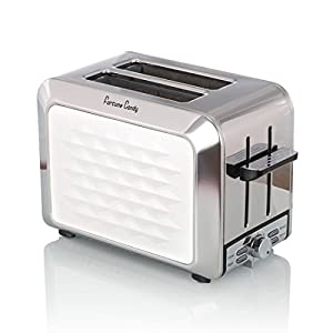 Fortune Candy Stainless Steel 2 Slice Extra Wide Slot Toaster with High-Life Lever Quickly Toasts Bagels and Bread, White