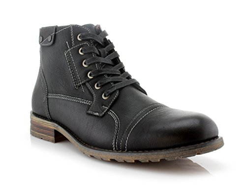 Polar Fox Ronny MPX806037 Mens Casual Work Lace Up Classic Motorcycle Combat Boots - Black, Size 13 ()