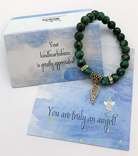 Smiling Wisdom - Angel Wing Stretch Bracelet - Appreciation Kindhearted Thank You Keepsake Greeting Card - Friendship – Green Rain Flower Stones - Limited Edition (Stone Keepsake)