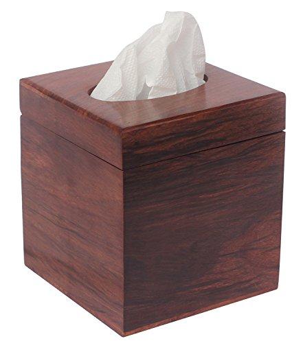 2016 YEAR END STOCK-AB Handicrafts-5Square Wooden Tissue Box Holder-Brown Tissue Paper Dispenser for Kleenex Tissues-Handmade Decorative Tissue Holder for Kitchen/Bathroom/Dining Table Décor
