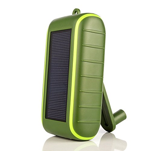 - Solar Charger Hand-Crank Portable, 10000 mAh Solar Power Charger, 2019 Edition, Dual USB Output & LED Flashlight, 3 Power Modes, Mobile Phone Charger Waterproof for Indoor & Outdoor (Army Green)