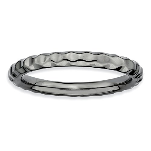 Black Plated Hammered Band Ring Size 5.00 Stackable Textured Fine Jewelry Gifts For Women For Her ()