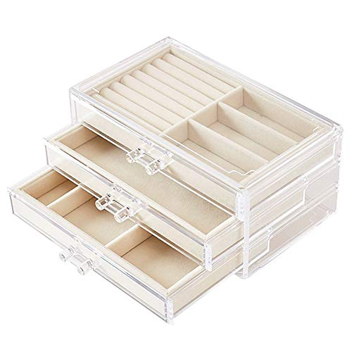 UEK Jewelry Box for Women with 3 Drawers, Velvet Jewellery Organizer for Earring Bangle Bracelet Necklace and Rings Storage - Beige ()