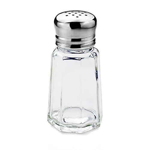 Mushroom Salt Mill - New Star Foodservice 22285 Glass Salt and Pepper Shaker with Stainless Steel Mushroom Top, 1-Ounce, Set of 24