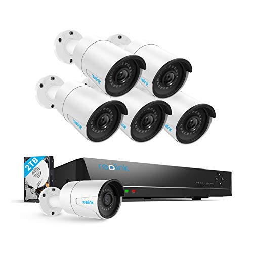 Reolink 8CH 5MP PoE Home Security Camera System, 6pcs 5MP HD Wired Bullet PoE Cameras Outdoor, 8MP/4K 8-Channel NVR with 2TB HDD for 24/7 Recording and Surveillance, RLK8-410B6-5MP
