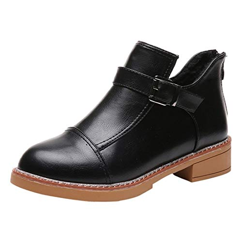 HLHN Women Ankle Boots Zip Buckle Leather Block Flat Heel Martin Shoes Vintage Casual Classic Winter Black