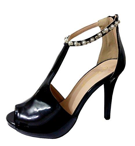 Inception Pro Infinite Sandal Decolleté Para Mujer Negro Brillante - SKK-11