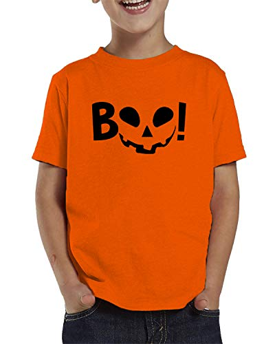 SpiritForged Apparel Boo! Pumpkin Face Halloween Toddler T-Shirt, Orange 4T