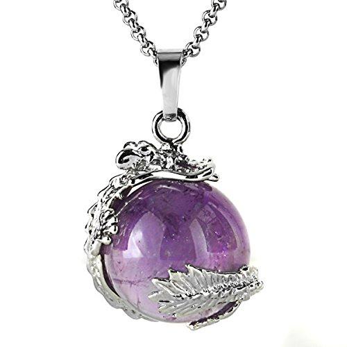 Dragon Claw Moving Crystal Quartz Ball Gothic Power Healing Chakra Reiki Pendant Necklace