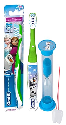 "Disney Frozen ""Olaf"" Inspired 2pc Bright Smile Oral Hygiene Set! Frozen Solf Manual Toothbrush & Brushing Timer! Plus Bonus ""Remember to Brush"" Visual Aid!"