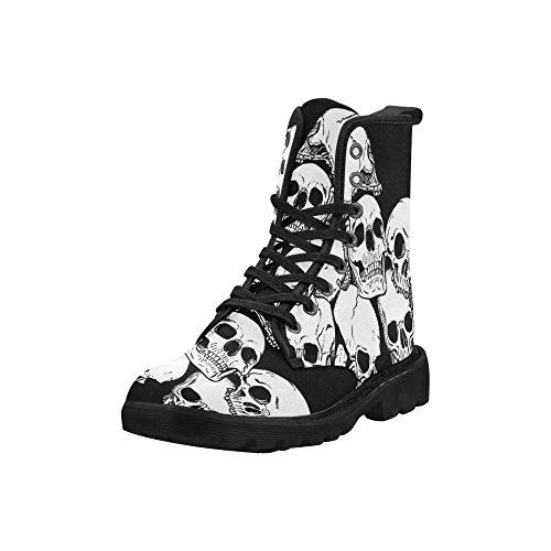 D-story Zapatos Blue Music Note Botas De Cordones Para Hombres Combat Botas Multi2