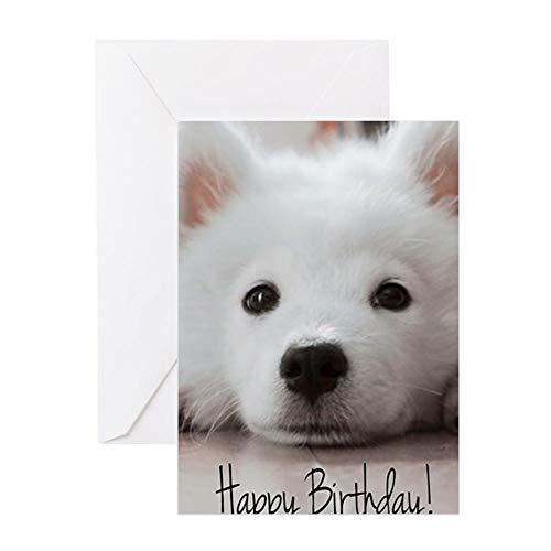 CafePress Happy Birthday Samoyed Puppy Greeting Cards Greeting Card, Note Card, Birthday Card, Blank Inside Matte ()