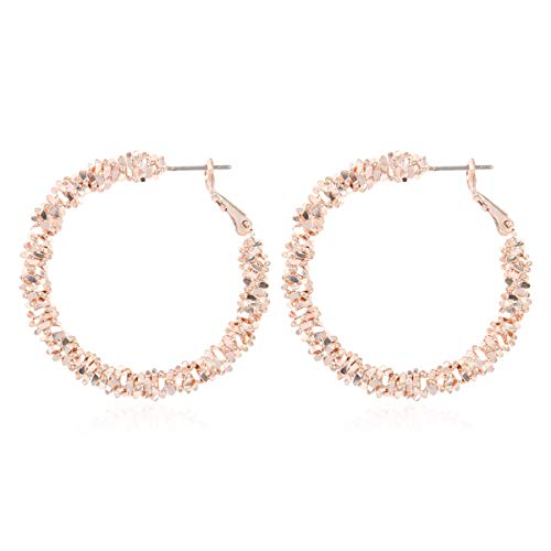 RIAH FASHION Simple Geometric Hoop Statement Earrings - Bohemian Tribal Lightweight Profile Shield Threader Dangles Curved Metal Crescent Moon, Embellished, Floral (Stardust Hoop - Rose Gold)
