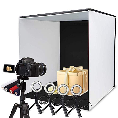 Photo Box, SAMTIAN 24x24 Inches Professional Light Box Shooting Tent with 5 Tripods 4 LED Ring Lights 4 Backdrops and a Cell Phone Holder for Photography (Photo Light Box 24 Inch)