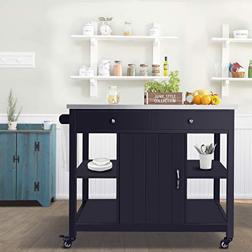 ChooChoo Kitchen Island Cart with Stainless Steel Top-Navy Blue ()