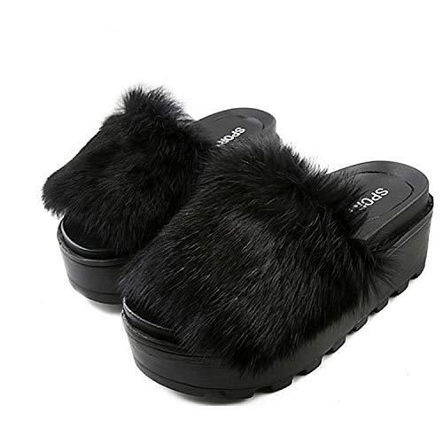 (Women Plush Slippers Fluffy Animal F-ur Slides,Black,7)
