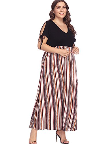 - Women's Plus Size V Neck Summer Casual Long Dress Zig Zag Striped Print High Waist Chiffon Dresses Short Sleeve Blue-Red 5X