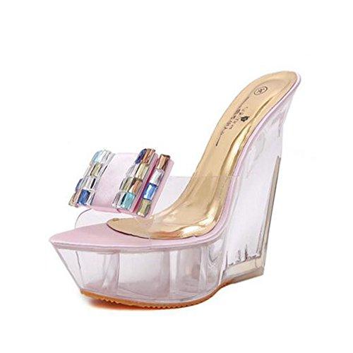 Rosado Zapatillas Damas Rhinestone Verano Absorción Crystal de Zapatos de Antideslizante Impermeable PU Moda Color Sandalias tamaño Mujer 38 2018 Wedges STAP1q