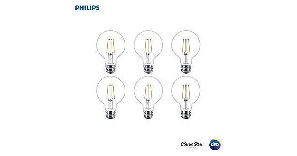 25-Watt Equivalent Clear 2700-Kelvin 180-Lumen 2.7-Watt Soft White Philips LED Dimmable G25 Light Bulb E26 Base 6-Pack