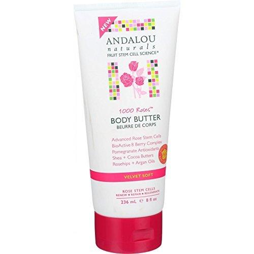Andalou Naturals 1000 Roses Velvet Soft Body Butter, 8 Ounce