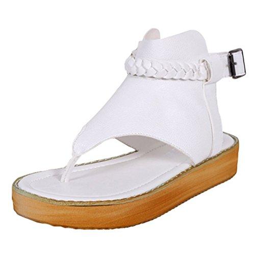 Sentao Sandalias Verano Estilo Bohemio Romanos Zapatos Flip Flops Playa Zapatos Blanco