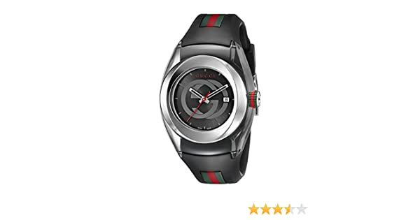 52f39a9d146 Gucci SYNC L YA137301 Stainless Steel Watch with Black Rubber Band   Amazon.ca  Watches