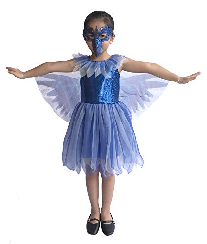So Sydney Deluxe Girls Blue Bird Costume & Accessories, Kid Toddler Bluejay Halloween Dress-Up (S (2T/4T), Blue Bird)