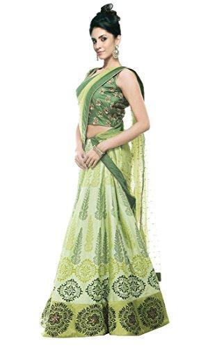 Shopaholic Women's Benglori Silk Lehenga Choli Free Size Lime Green