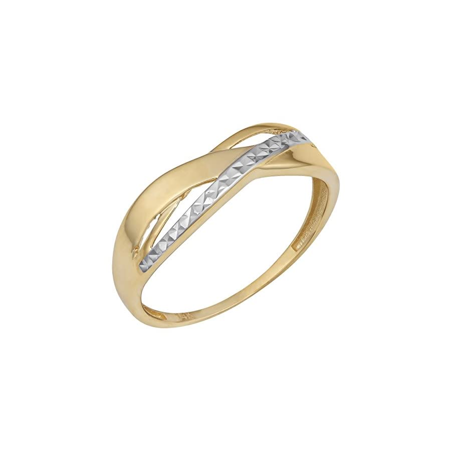 14k Two Tone Gold Diamond Cut And High Polish Highway Ring