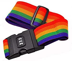حزام الأمتعة بكلمة السر بألوان قوس قزح للسفر حقيبة الأمتعة حزام الأمان FER002599
