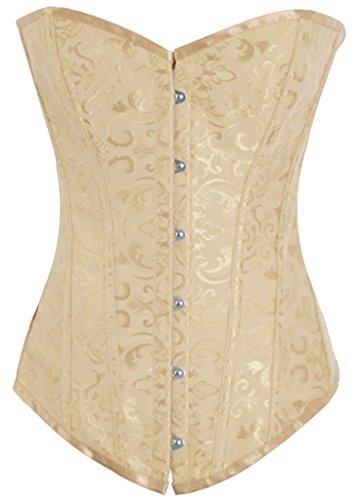 Alivila.Y Fashion Womens Sexy Brocade Vintage Corset Bustier 810-Cream-S - Teal Corset