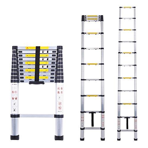 Myifan Telescopic Ladder Multi-Purpose Aluminium Telescoping Ladder Extension Extend Portable Ladder Foldable Ladder EN131Standards (3.2M / 10.5Ft)
