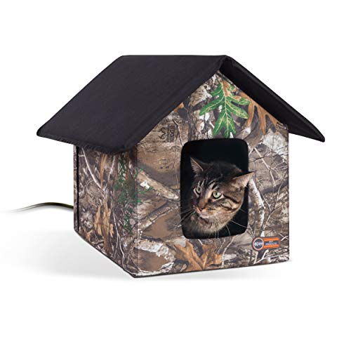 K&H PET PRODUCTS Outdoor Heated Kitty House Cat Shelter Realtree Edge Camo 18 X 22 X 17 Inches
